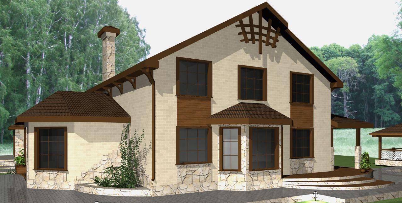 Одноэтажного жилого дома с мансардой